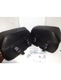 NEW - 94-17 Sportster Leather Saddlebags - OE HD - Embosed with Sportster - Hardware included - OEM 90201306/90201329 - ID 1683