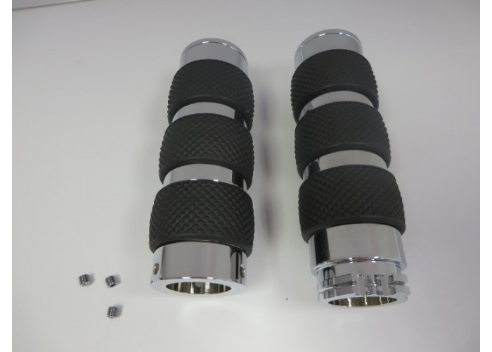 """Factory Products, Chrome Billet 1"""" Hand Grips."""