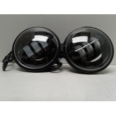 4.5 Inch Black LED Spot Lights. Sold as a Pair fits Harley and Indian