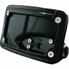 Kuryakyn, 3125, Lighted Curved Horizontal Side Mount License Plate Holder, Black